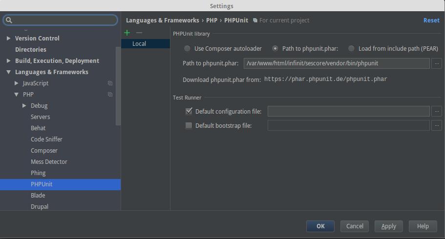 Config PHPUnit en PHPStorm