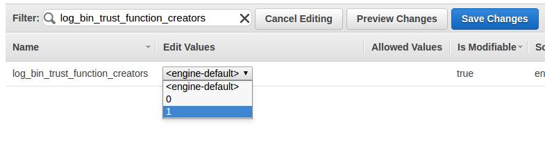 log_bin_trus_functions_creators en Amazon RDS