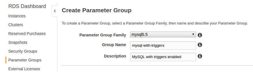 Crear nuevo grupo de parámetros Amazon RDS