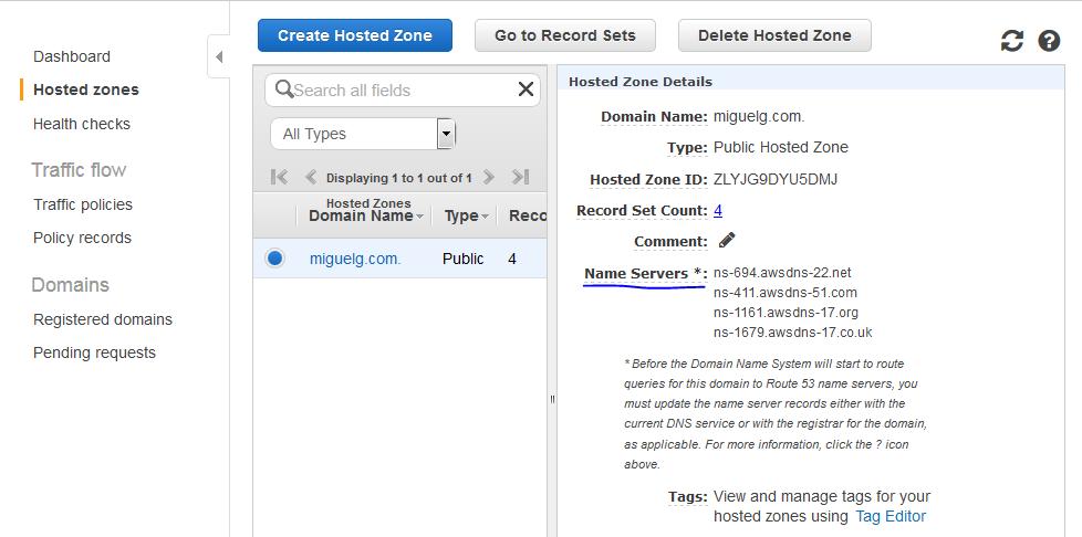 Localización nombres de servidor DNS para un dominio en Route 53